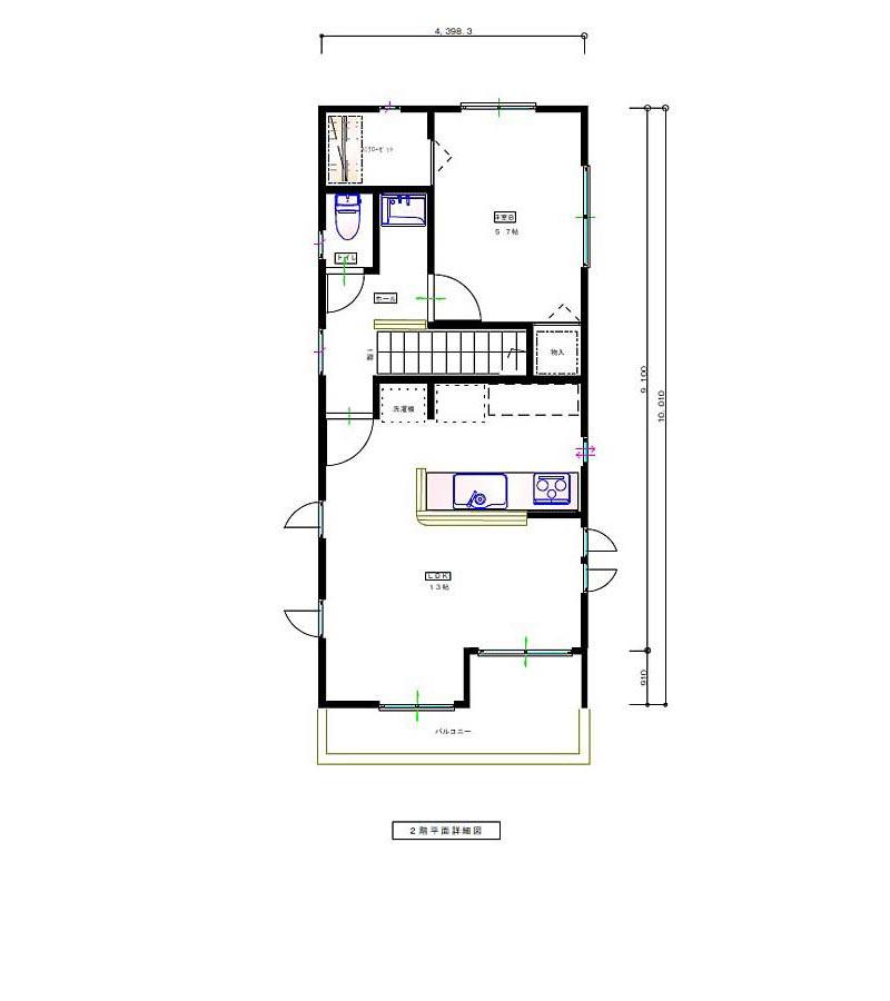 GARAGE HOUSE 平面図 2F
